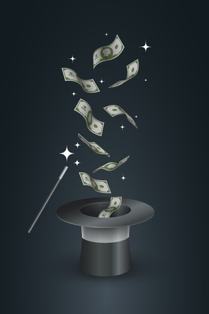 flying hat: Money flying out the top hat. Magic trick concept illustration.