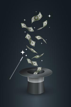 dinero volando: Vuelo del dinero fuera del sombrero de copa. Ejemplo del concepto de la magia truco.