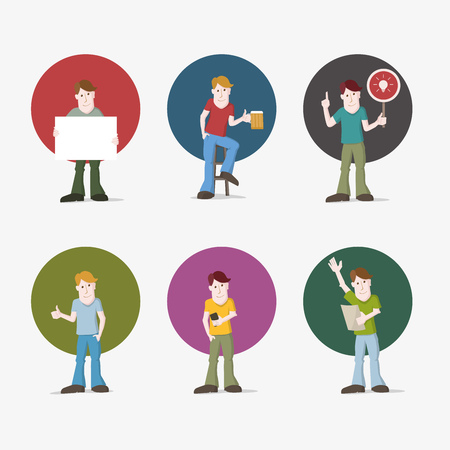 discourse: illustration set of young casual man. Various poses.