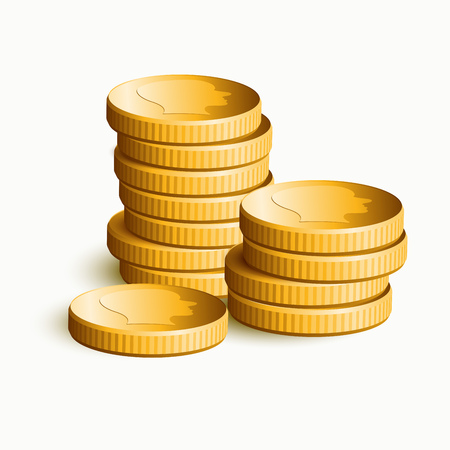 commercial sign: stacked golden coins. illustration.