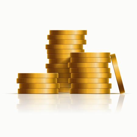 golden: apilados monedas de oro. ilustración. Vectores