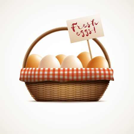 raw egg: Vector illustration of eggs in wicker basket with label. Elements are layered separately in vector file.