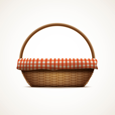 wickerwork: Vector illustration of realistic wicker basket. Elements are layered separately in vector file. CMYK colors. Print ready. Illustration