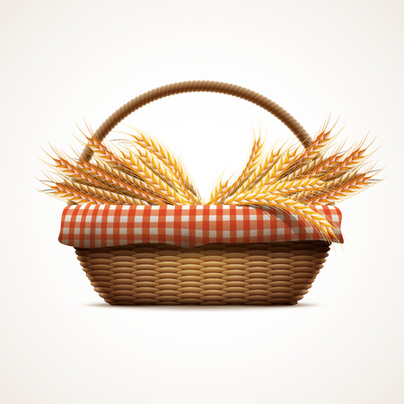 Vector illustration of wheats in wicker basket. Elements are layered separately in vector file. CMYK colors.