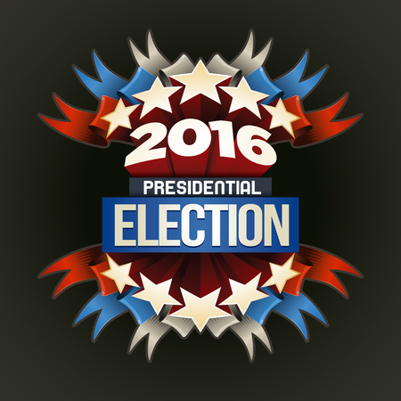 vote symbol: Year 2016 Presidential Election Design. Elements are layered separately in vector file. Illustration