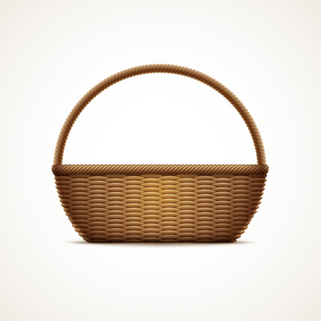 separately: Vector illustration of realistic wicker basket. Elements are layered separately in vector file. CMYK color mode, print ready.