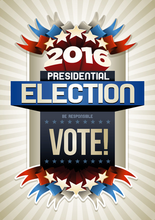 politics: Year 2016 Presidential Election Poster Design. Elements are layered separately in vector file.