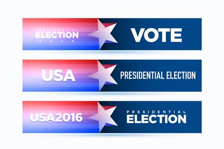 Vector banner for presidential election 2016.
