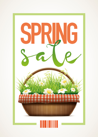wicker basket: Spring Sale themed poster template.Vector illustration of realistic wicker basket. grass and daisy flowers in wicker basket.  Elements are layered separately in vector file.