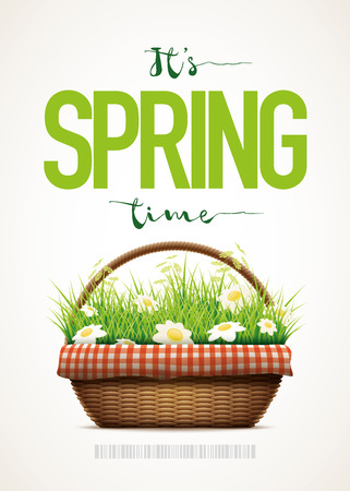 grass weave: Spring themed poster template. Vector illustration of realistic wicker basket. Grass and daisy flowers in wicker basket. Elements are layered separately in vector file.