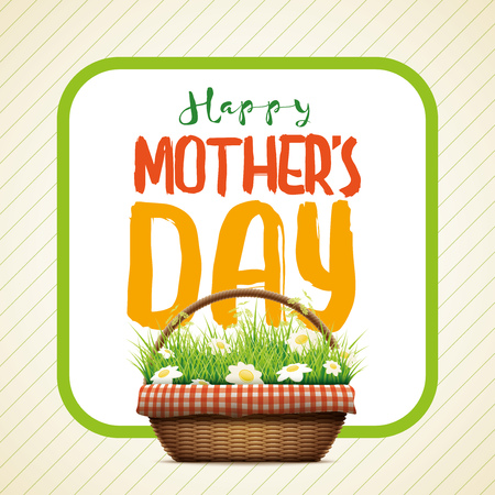 grass weave: Mothers Day-themed design illustration of realistic template.wicker basket. grass and daisy flowers in wicker baskets. Illustration