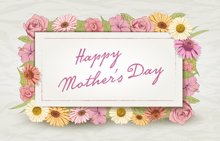 etched: Mothers Day card design template with colorful vintage flowers.