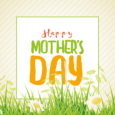 cover background time: Mothers Day-themed design template. illustration of grass and daisy flowers.