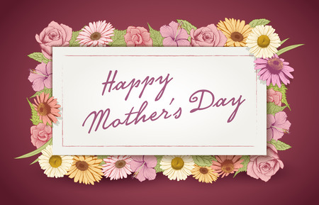 flower sketch: Mothers Day card design template with colorful vintage flowers.