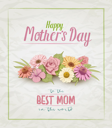 etched: Mothers Day card design template with colorful vintage hand drawn flowers.
