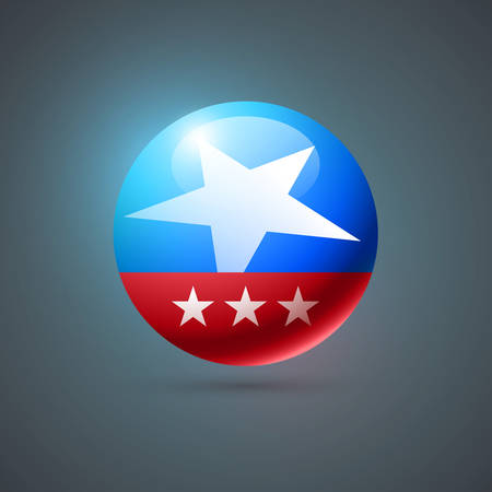 separately: Vector United States of America flag themed badge. Elements are layered separately in vector file. Illustration