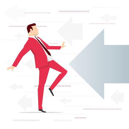 perspiration: Red suit businessman and potential threat. Vector concept illustration. Illustration