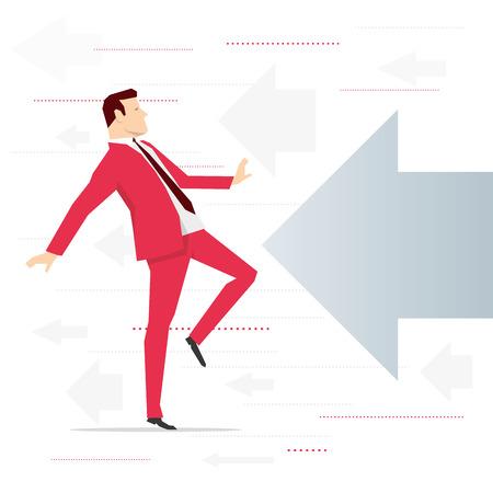 allegation: Red suit businessman and potential threat. Vector concept illustration. Illustration