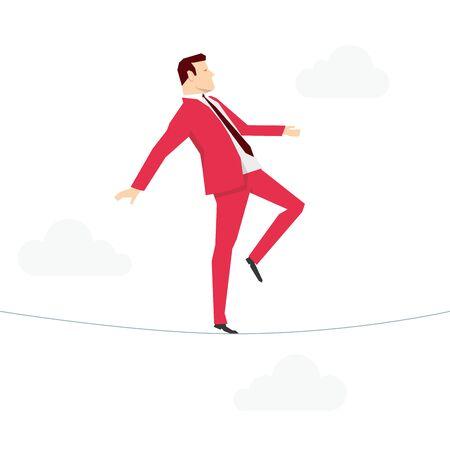 businessman walking: Red suit businessman walking on rope. Vector concept illustration.