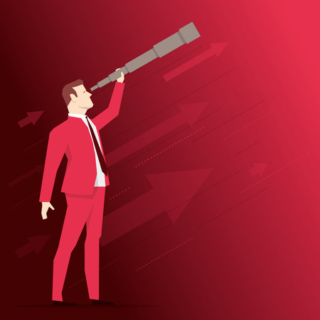 people looking up: Businessman looks through a telescope on red background. Vector business concept illustration.