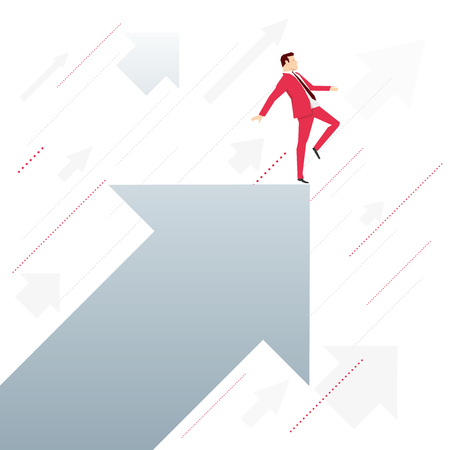 acrobat: Red suit businessman standing on arrow like an acrobat. Vector concept illustration. Illustration