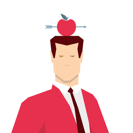 dangerous work: Red suit businessman and apple target. Vector concept illustration.