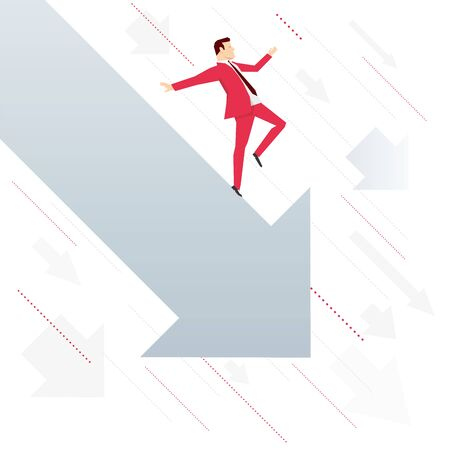 falling down: Red suit businessman falling down with arrow. Vector concept illustration.