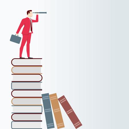 experimentation: Businessman on books, looks through a telescope. Vector business concept illustration. Illustration