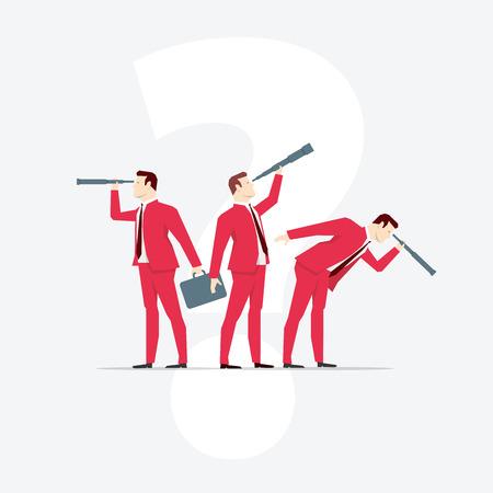 Businessmen, looks through a telescope. Vector business concept illustration.  イラスト・ベクター素材