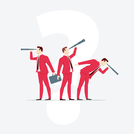 looks: Businessmen, looks through a telescope. Vector business concept illustration. Illustration