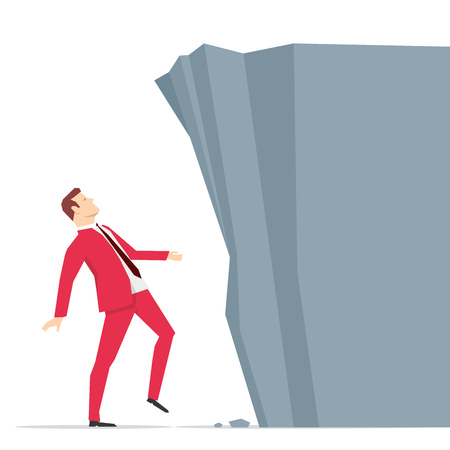 challenges: Red suit businessman looking at big rock barrier. Vector illustration.