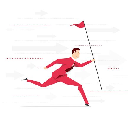 hustle: Red suit businessman running with flag. Vector concept illustration.