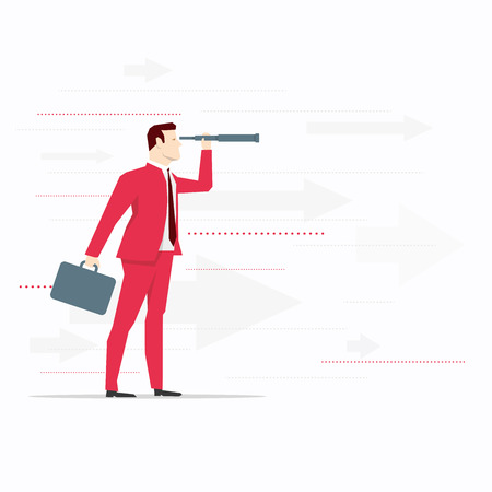 through: Businessman looks through a telescope. Vector business concept illustration. Illustration