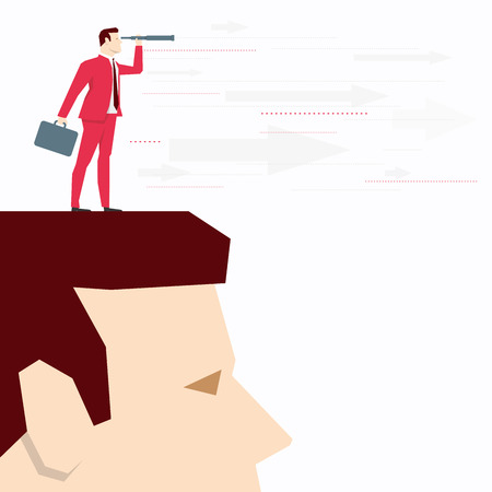 looks: Businessman on head, looks through a telescope. Vector business concept illustration. Illustration