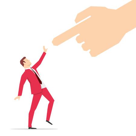 Czerwony kombinezon biznesmen patrząc na palcem wskazującym. ilustracji wektorowych. Ilustracje wektorowe