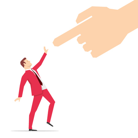Red suit businessman looking at pointing finger. Vector illustration.