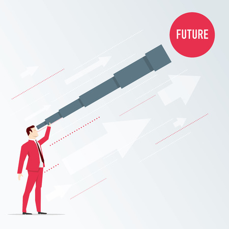 Businessman looks future through a telescope. Vector business concept illustration. Иллюстрация