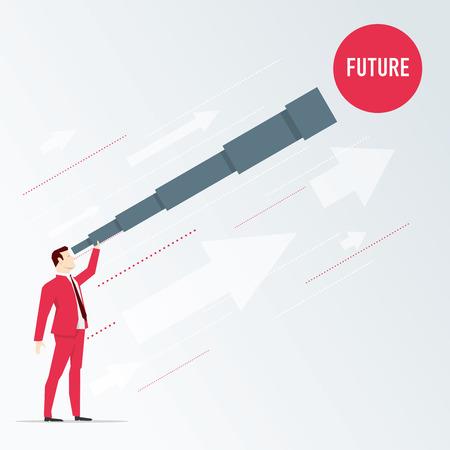 Businessman looks future through a telescope. Vector business concept illustration. Illustration