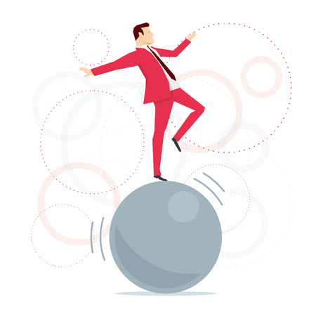 acrobat: Red suit businessman standing on big ball like an acrobat. Vector concept illustration.