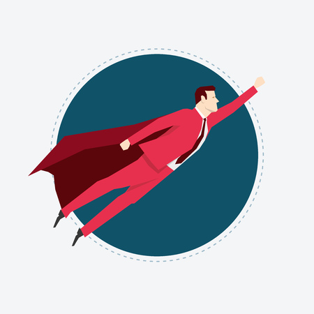 fearless: Businessman in red suit. Super hero. Flat style vector illustration.