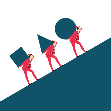 team concept: Red suit businessman. Team. Vector concept illustration.