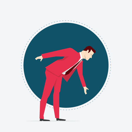 lean out: Businessman in red suit. Flat style vector illustration.