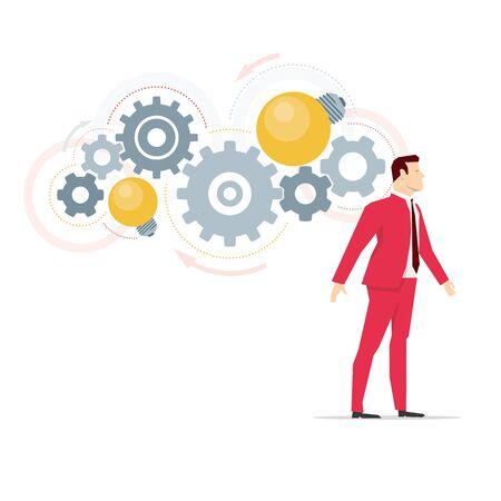 business mind: Red suit businessman. Business ideas in mind. Vector concept illustration.