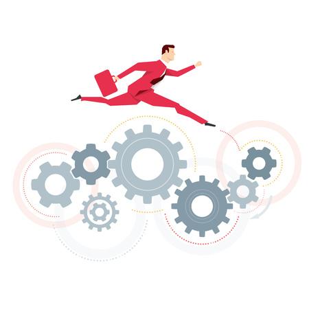 bustle: Red suit businessman. Jump. Vector concept illustration.