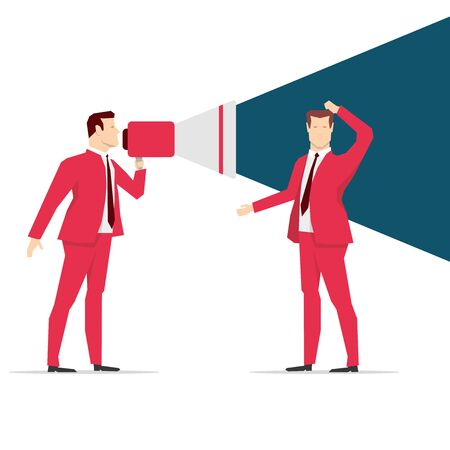 loud speaker: Red suit businessman. Shouting. Vector concept illustration.