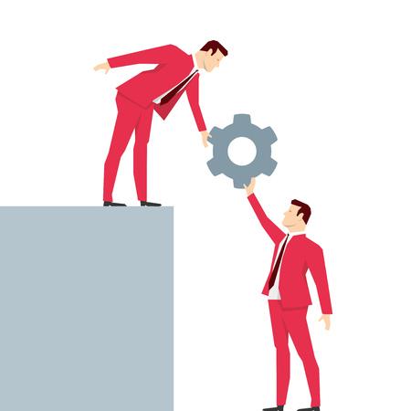 helping: Red suit businessman. Teamwork. Vector concept illustration.