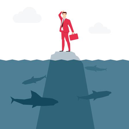 castaway: Red suit businessman and sharks. Vector concept illustration.