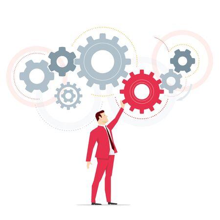 Red suit businessman. Work. Vector concept illustration.