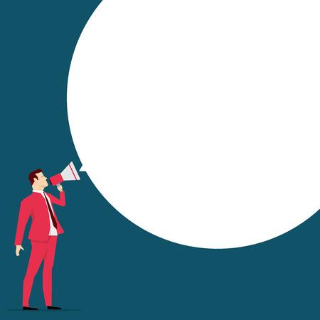 Red suit businessman. Message. Vector concept illustration. Ilustração