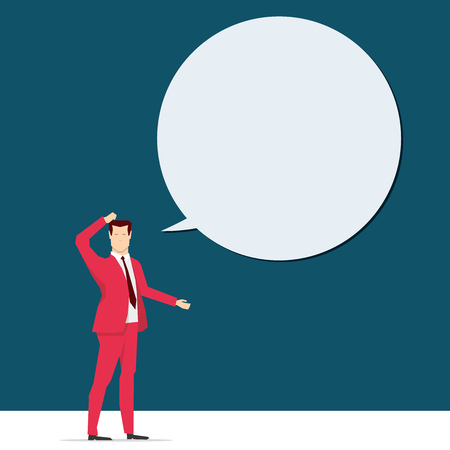 red balloon: Red suit business people concept illustration.